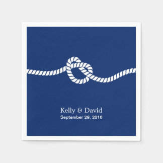 Navy Blue Tying the Knot Nautical Wedding Paper Napkin