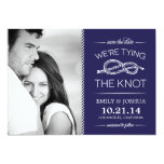 """Navy Blue Tying the Knot Photo Save the Date 5"""" X 7"""" Invitation Card"""