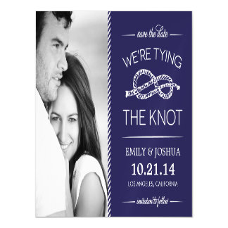 Navy Blue Tying the Knot Photo Save the Date Magnetic Card