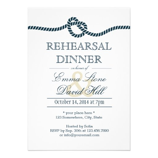Navy Blue Tying the Knot Rehearsal Dinner Personalized Invitations