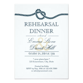 "Navy Blue Tying the Knot Rehearsal Dinner 5"" X 7"" Invitation Card"