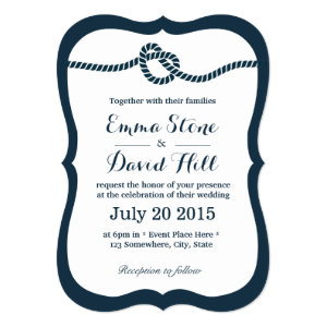 Navy Blue Tying the Knot Wedding Invitations 5