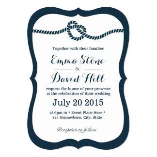 Navy Blue Tying the Knot Wedding Invitations