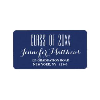 Navy Blue Typography Graduation Address Label