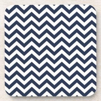 Navy Blue Unicolor Thin Chevron Pattern GPB01C Beverage Coaster