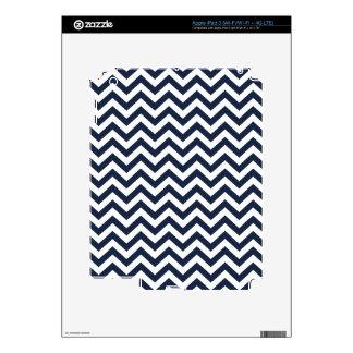 Navy Blue Unicolor Thin Chevron Pattern GPB01C Skins For iPad 3