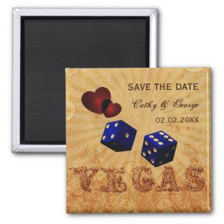 navy blue Vegas Vintage save the date magnets