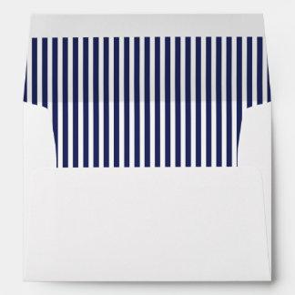 Navy Blue Vertical Stripe Lined Envelope