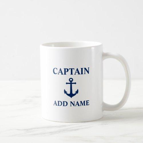 Navy Blue Vintage Anchor Captain Add Boat Name Coffee Mug