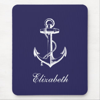 Navy Blue Vintage Anchor Custom Monogram Mouse Pad
