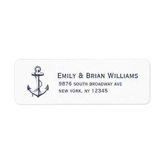 Navy Blue Vintage Anchor Illustration Return Address Label