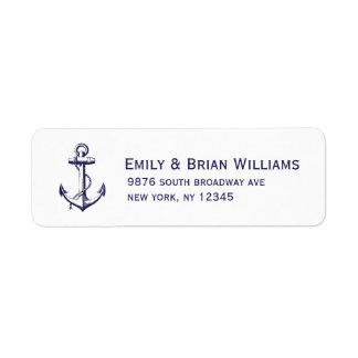 Navy Blue Vintage Anchor Illustration Label