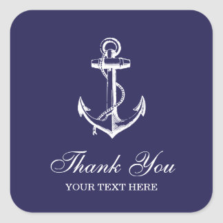 Navy Blue Vintage Anchor Thank You Favor Square Sticker