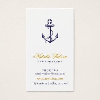 Navy Blue Vintage Anchor Vertical Business Card