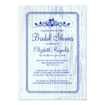 Navy Blue Vintage Barn Wood Bridal Shower Invites
