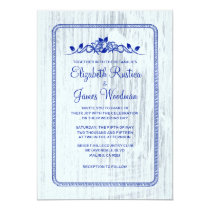 Navy Blue Vintage Barn Wood Wedding Invitations