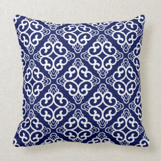 Navy Blue Vintage Chinese Square Floral Throw Pillow