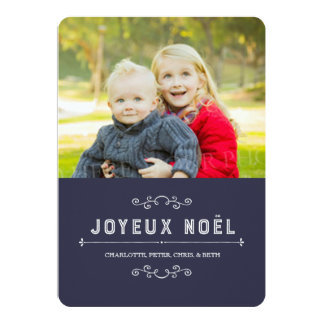 Navy Blue Vintage Christmas Photo Card French