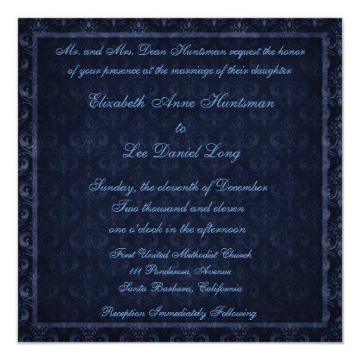 Navy Blue Vintage Damask Wedding Invitation