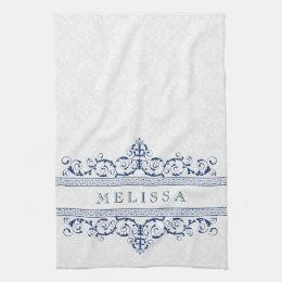 Navy Blue Vintage Floral Swirls Frame Hand Towel