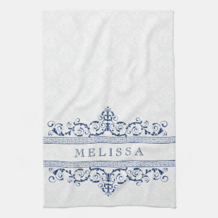 Navy Blue Vintage Floral Swirls Frame Hand Towel at Zazzle