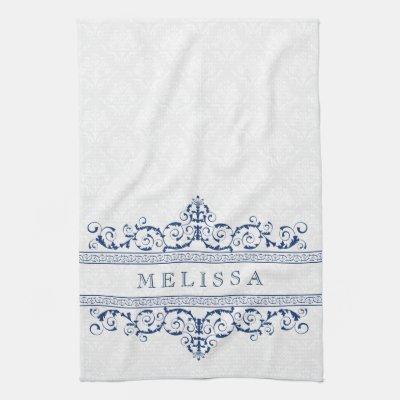 Navy Blue U0026 White Greek Key Pattern Kitchen Towel | Zazzle.com