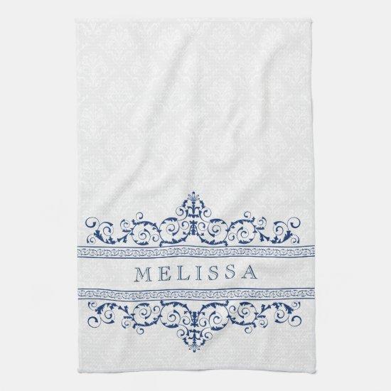 Navy Blue Vintage Floral Swirls Frame Kitchen Towel