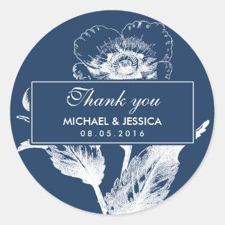 Navy Blue Vintage Flower Wedding Thank You Sticker