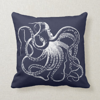 Navy Blue Vintage Octopus and Nautical Stripes Throw Pillow