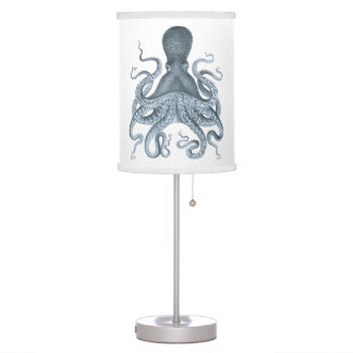 Navy Blue Vintage Octopus Illustration Desk Lamp