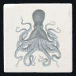 "Navy Blue Vintage Octopus Illustration Stone Coaster<br><div class=""desc"">Navy Blue Vintage Octopus Illustration</div>"