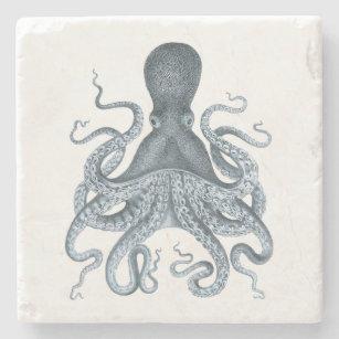 Navy Blue Vintage Octopus Illustration Stone Coaster