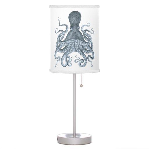 navy blue vintage octopus illustration table lamp zazzle. Black Bedroom Furniture Sets. Home Design Ideas