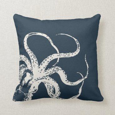 Beach Themed Navy Blue Vintage Octopus Throw Pillow