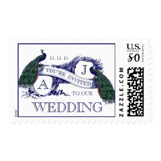NAVY BLUE VINTAGE PEACOCK WEDDING POSTAGE
