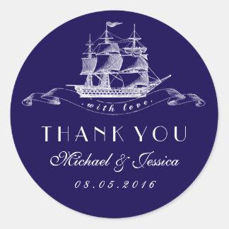 Navy Blue Vintage Ship Thank You Wedding Sticker