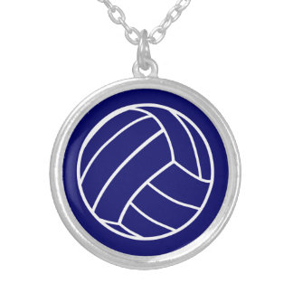 Navy Blue Volleyball Necklace