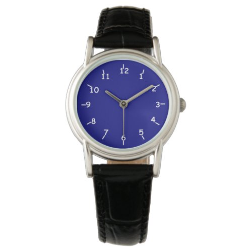 Navy Blue Watch with Classic Black Leather Band