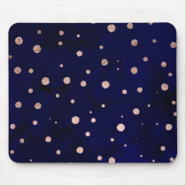 Navy blue watercolor chic rose gold polka dots mouse pad
