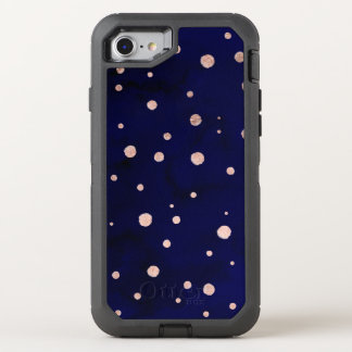 Navy blue watercolor chic rose gold polka dots OtterBox defender iPhone 7 case