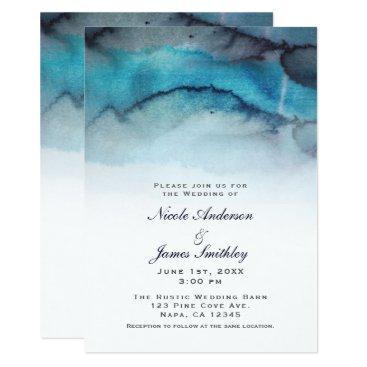 Beach Themed Navy Blue Watercolor Coastal Beach Abstract Waves Card