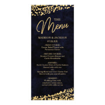 Navy Blue Watercolor & Gold Confetti Wedding Menu