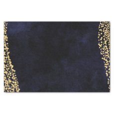 Navy Blue Watercolor & Gold Confetti Wedding Tissue Paper