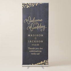 Navy Blue Watercolor Gold Confetti Wedding Welcome Retractable Banner