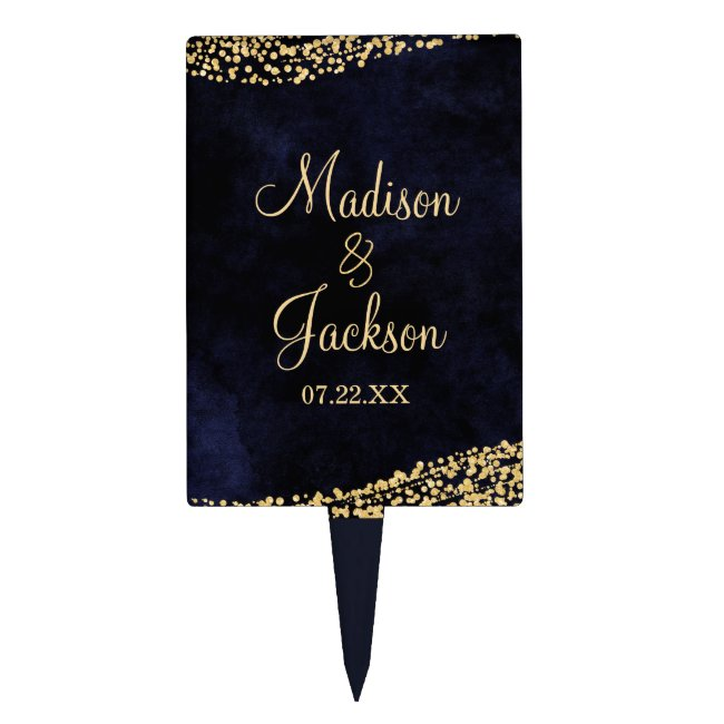 Navy Blue Watercolor & Gold Glam Wedding Monogram Cake Topper