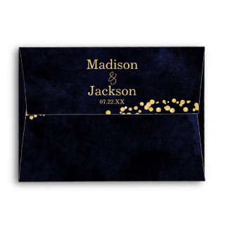 Navy Blue Watercolor & Gold Glam Wedding Monogram Envelope