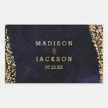 Navy Blue Watercolor & Gold Glam Wedding Monogram Rectangular Sticker