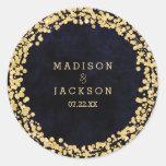 Navy Blue Watercolor & Gold Monogram Wedding Classic Round Sticker