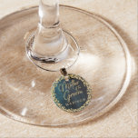 Navy Blue Watercolor & Gold Mother of the Groom Wine Glass Charm