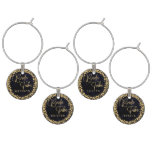 Navy Blue Watercolor & Gold Wedding Bride Tribe Wine Glass Charm